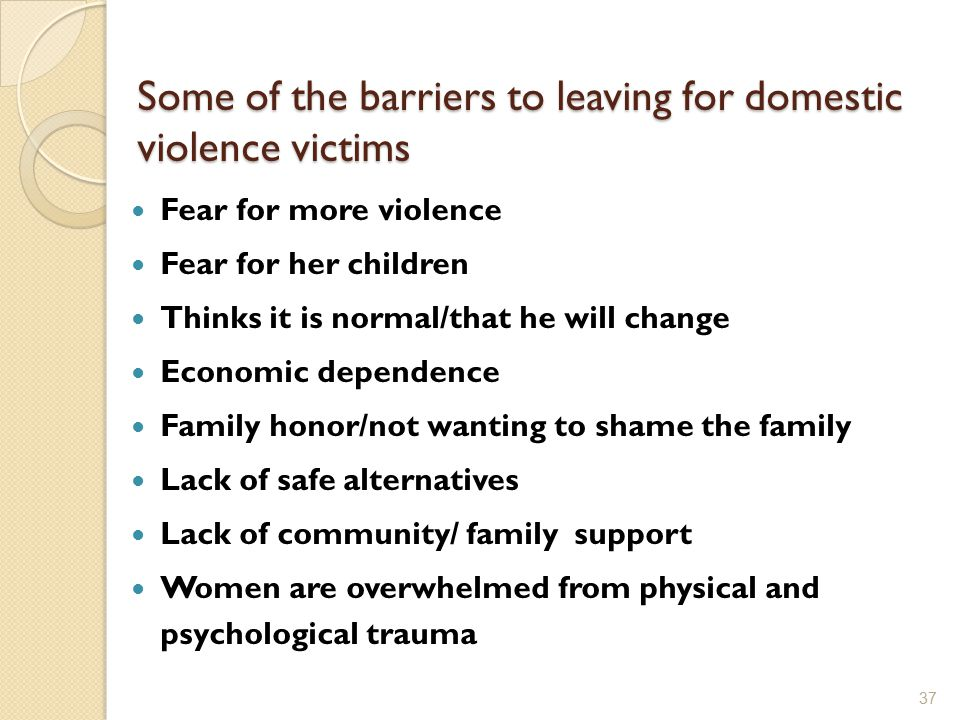 Some of the barriers to leaving for domestic violence victims Fear for more violence Fear for her children Thinks it is normal/that he will change Eco
