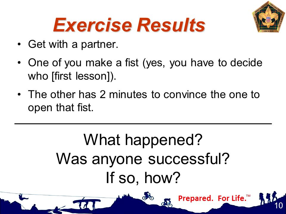 Exercise Results Get with a partner.