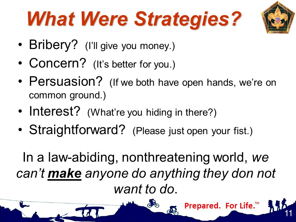 What Were Strategies. Bribery. (I'll give you money.) Concern.