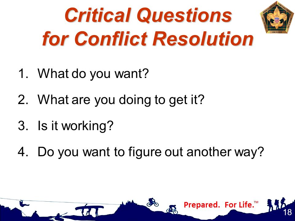 Critical Questions for Conflict Resolution 1.What do you want.
