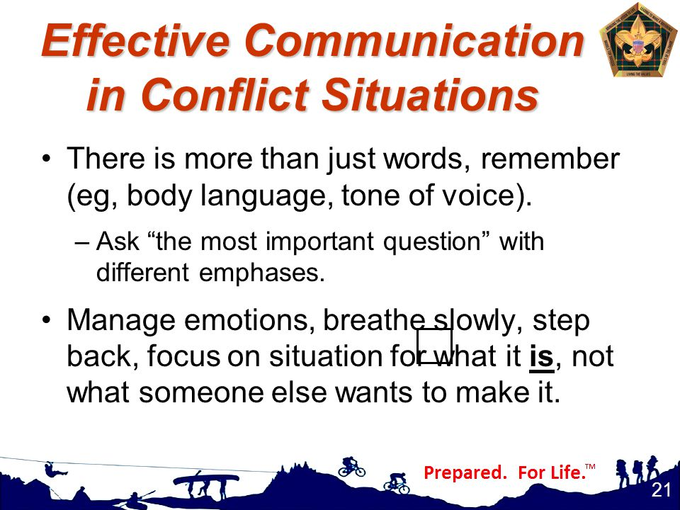 Effective Communication in Conflict Situations There is more than just words, remember (eg, body language, tone of voice).