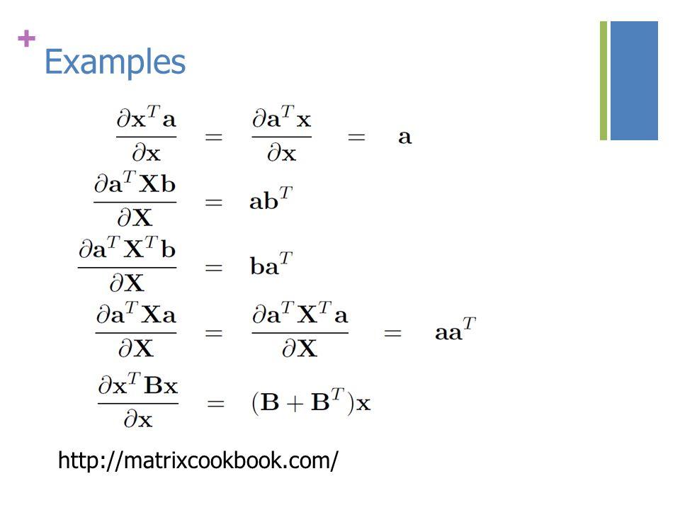 + Examples http://matrixcookbook.com/