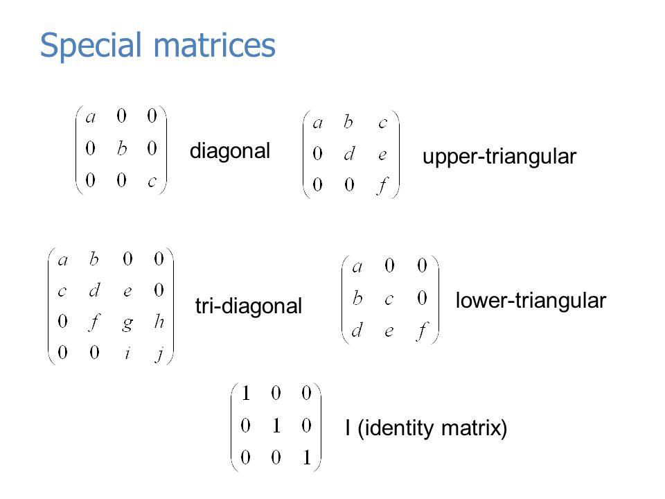 Special matrices diagonal upper-triangular tri-diagonal lower-triangular I (identity matrix)