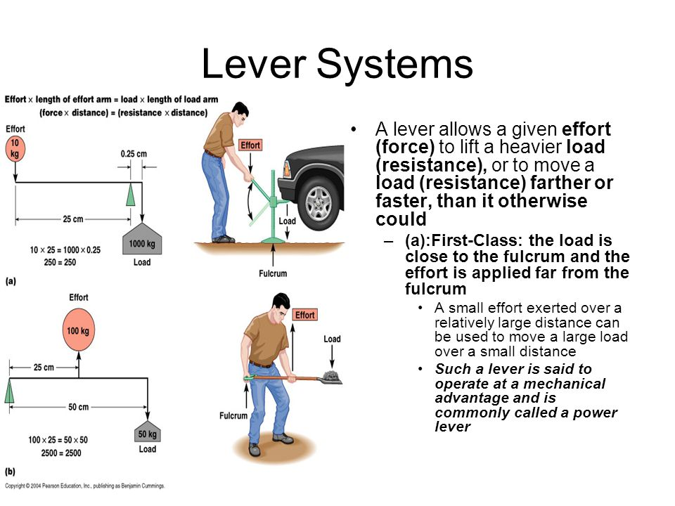 Lever Systems A lever allows a given effort (force) to lift a heavier load (resistance), or to move a load (resistance) farther or faster, than it oth