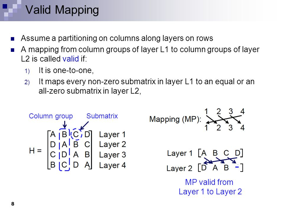 Valid Mapping Assume a partitioning on columns along layers on rows A mapping from column groups of layer L1 to column groups of layer L2 is called valid if: 1) It is one-to-one, 2) It maps every non-zero submatrix in layer L1 to an equal or an all-zero submatrix in layer L2, 8 Column groupSubmatrix - MP valid from Layer 1 to Layer 2