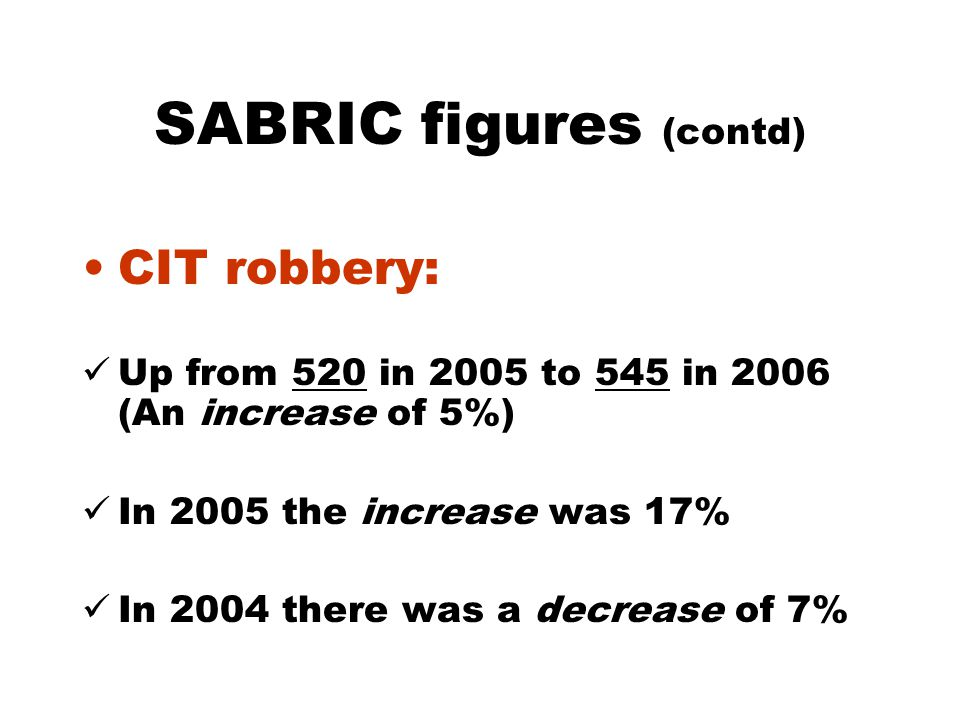 SABRIC figures (contd) CIT robbery: Up from 520 in 2005 to 545 in 2006 (An increase of 5%) In 2005 the increase was 17% In 2004 there was a decrease of 7%