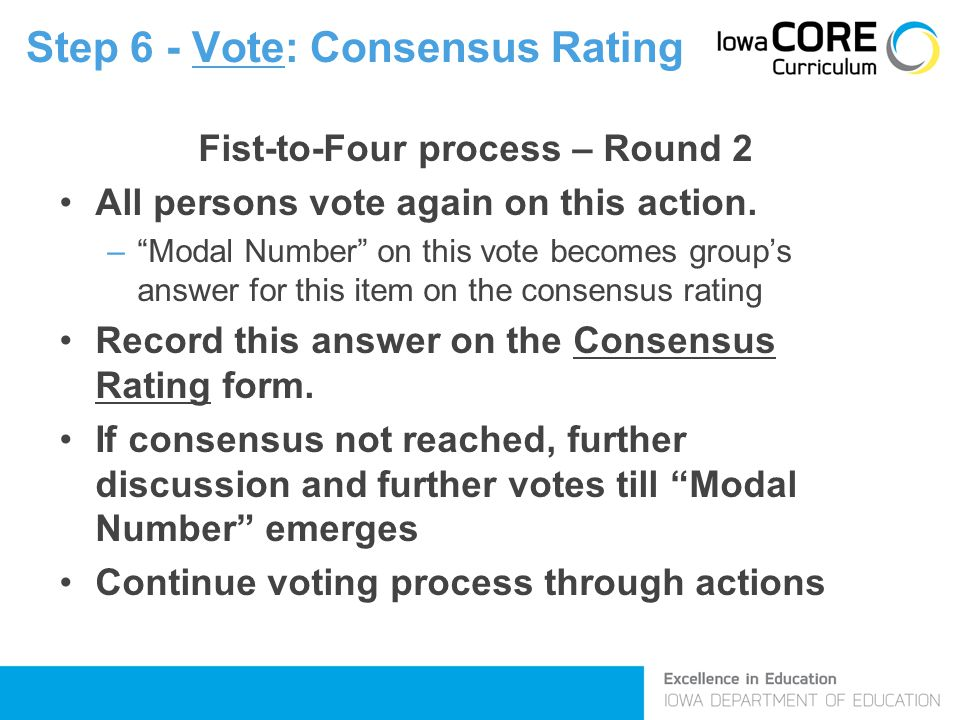 Step 6 - Vote: Consensus Rating Fist-to-Four process – Round 2 All persons vote again on this action.