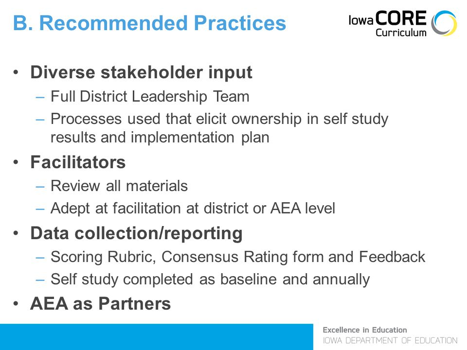 B. Recommended Practices Diverse stakeholder input –Full District Leadership Team –Processes used that elicit ownership in self study results and impl