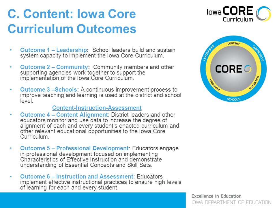C. Content: Iowa Core Curriculum Outcomes Outcome 1 – Leadership: School leaders build and sustain system capacity to implement the Iowa Core Curricul