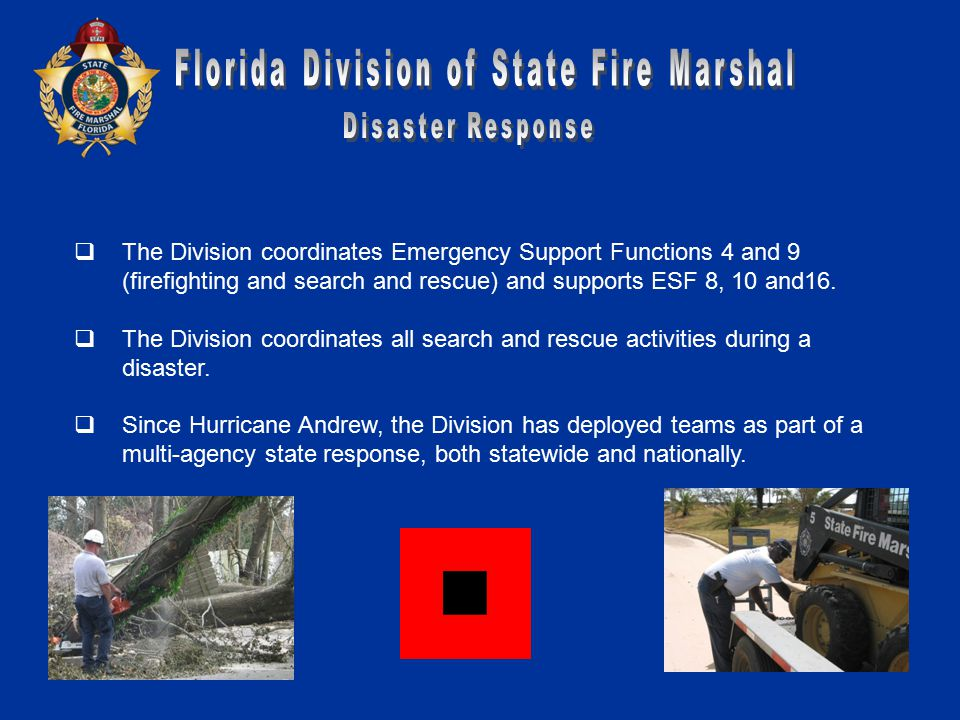  The Division coordinates Emergency Support Functions 4 and 9 (firefighting and search and rescue) and supports ESF 8, 10 and16.