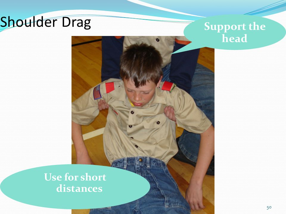 50 Shoulder Drag Support the head Use for short distances