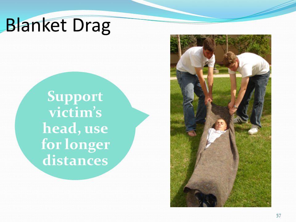 57 Blanket Drag Support victim's head, use for longer distances