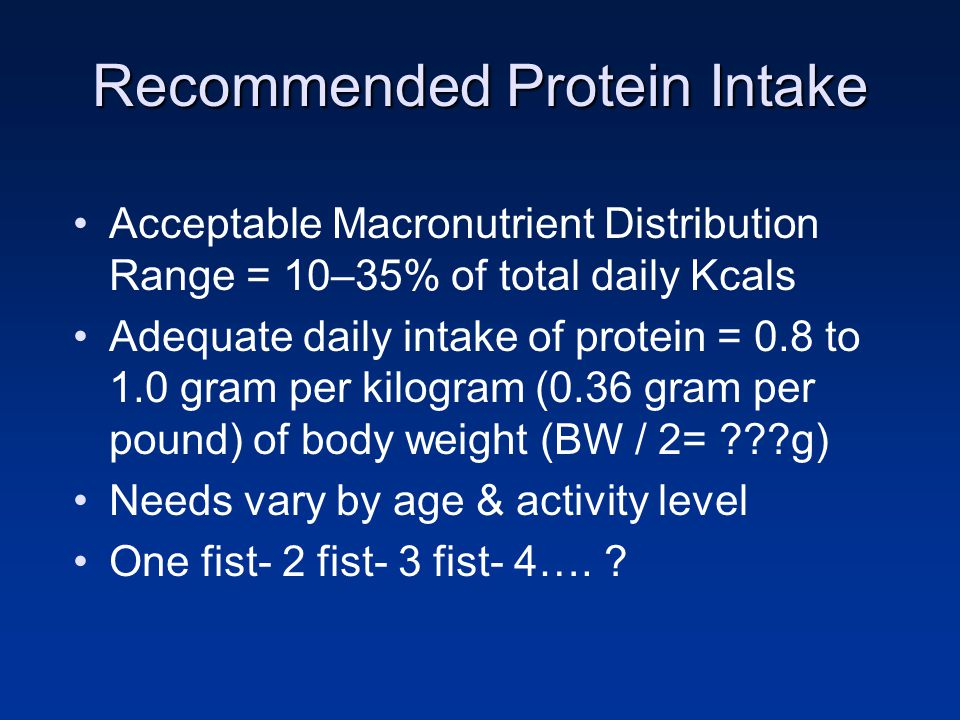 Recommended Protein Intake Acceptable Macronutrient Distribution Range = 10–35% of total daily Kcals Adequate daily intake of protein = 0.8 to 1.0 gra