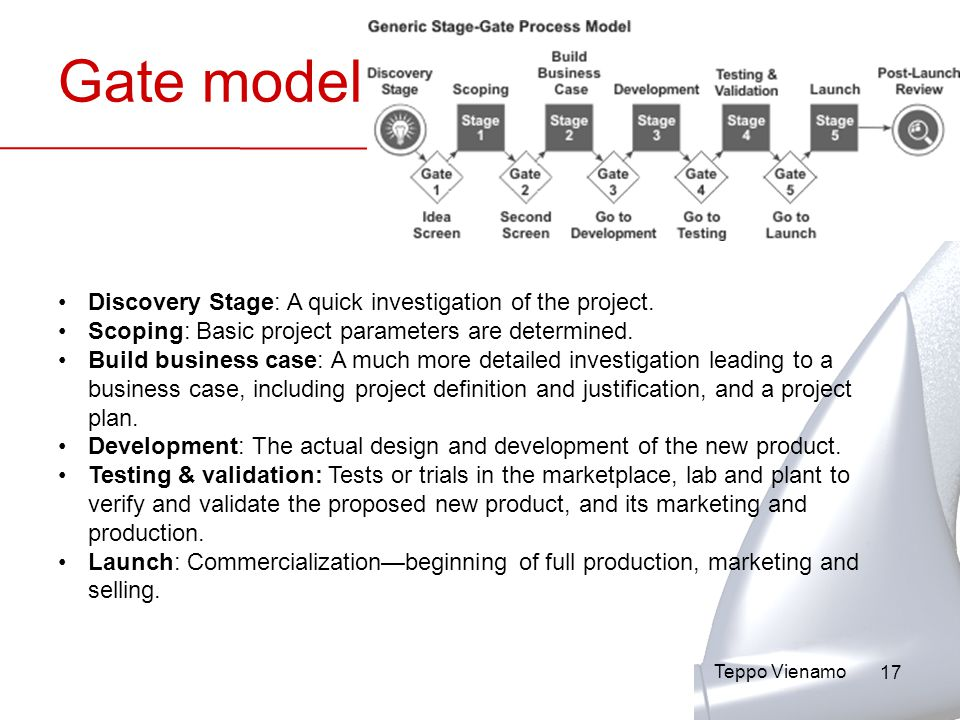 17 Gate model Discovery Stage: A quick investigation of the project.
