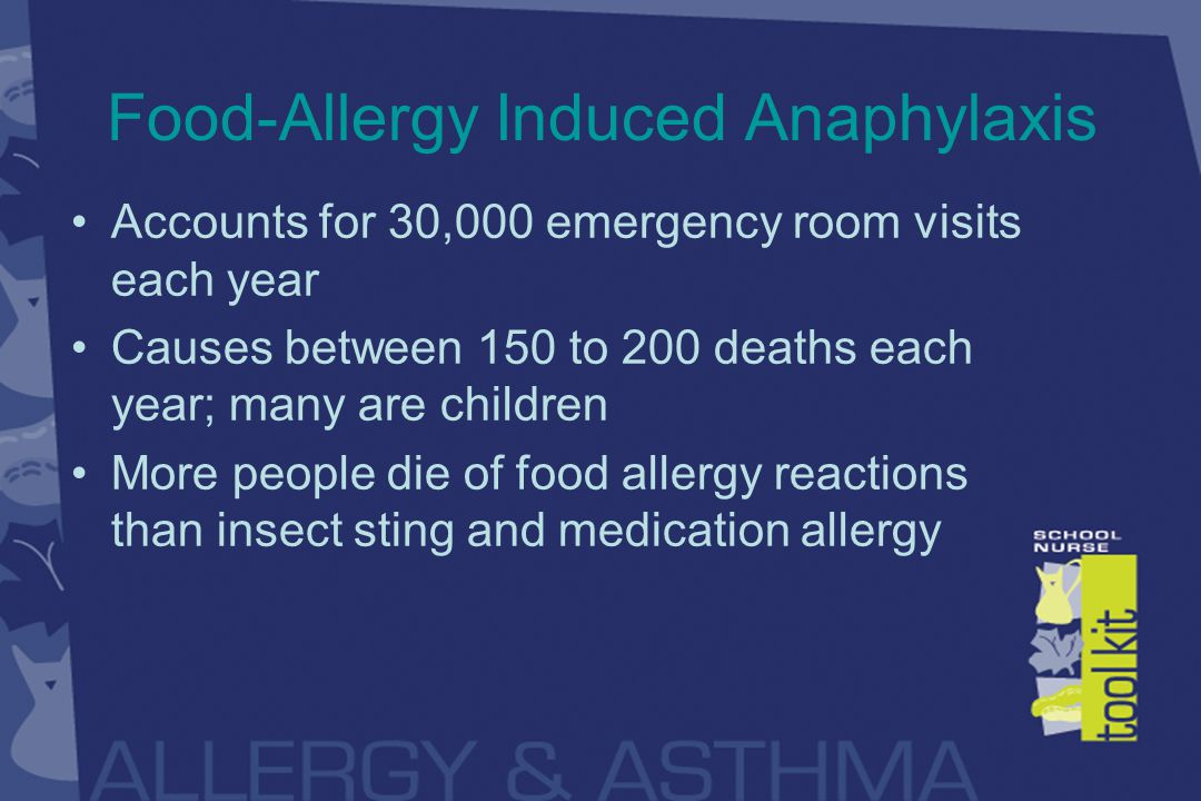 Food-Allergy Induced Anaphylaxis Accounts for 30,000 emergency room visits each year Causes between 150 to 200 deaths each year; many are children More people die of food allergy reactions than insect sting and medication allergy