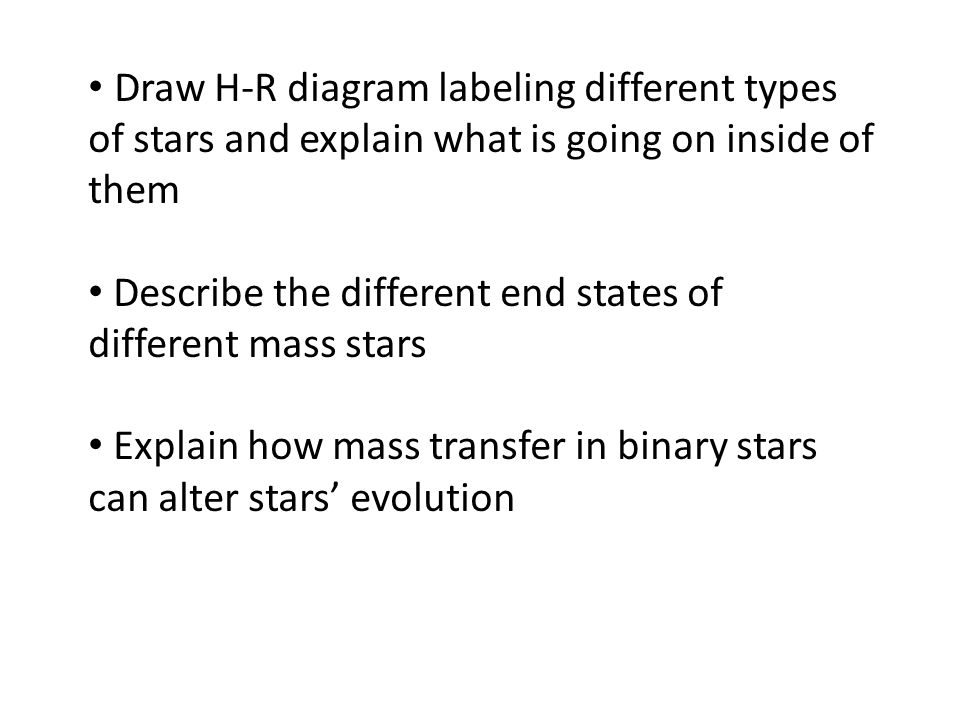 Draw H-R diagram labeling different types of stars and explain what is going on inside of them Describe the different end states of different mass sta