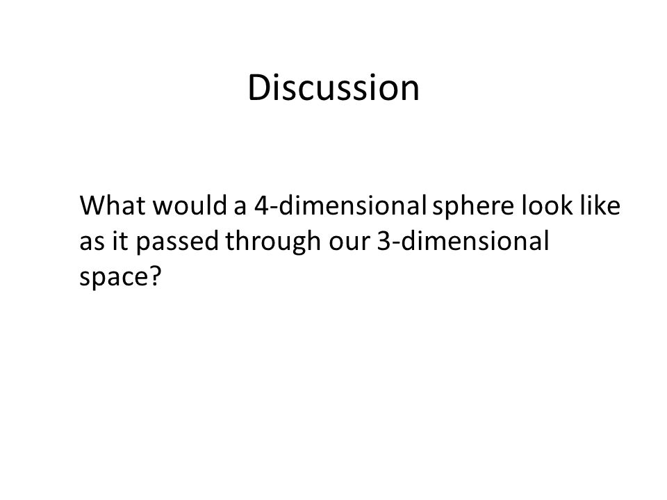 Discussion What would a 4-dimensional sphere look like as it passed through our 3-dimensional space?