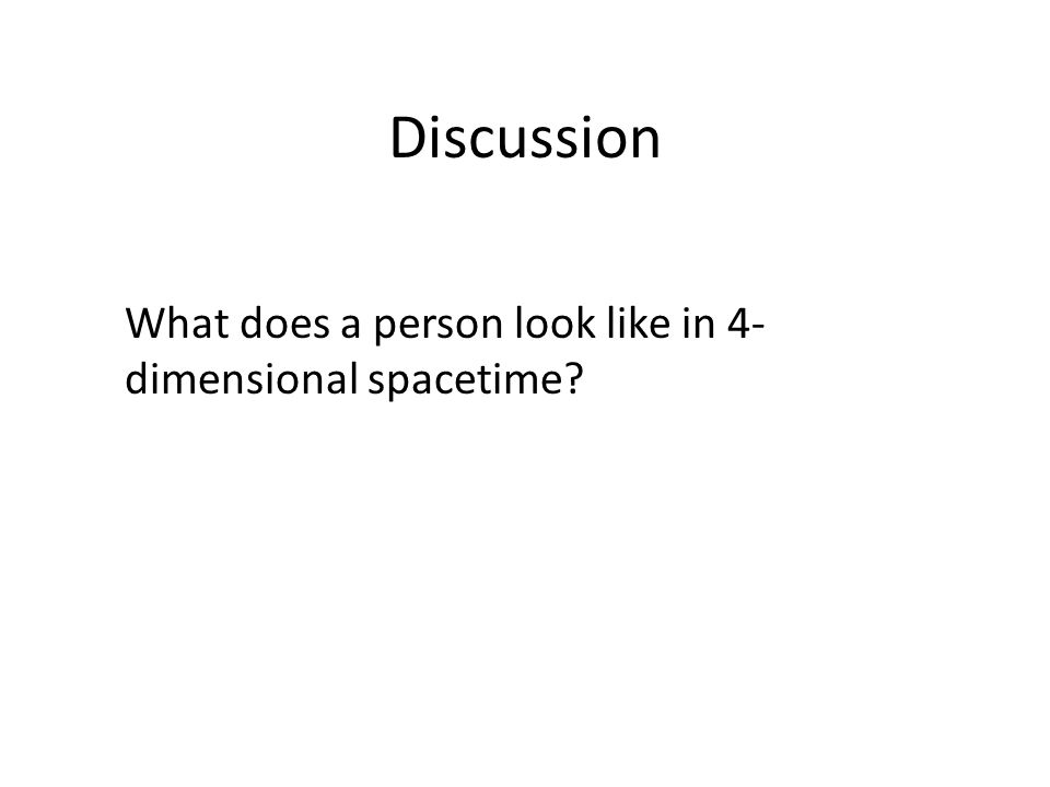 Discussion What does a person look like in 4- dimensional spacetime?