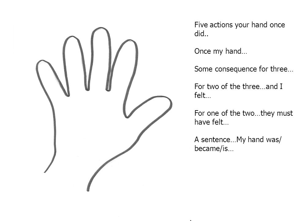 Five actions your hand once did.. Once my hand… Some consequence for three… For two of the three…and I felt… For one of the two…they must have felt… A