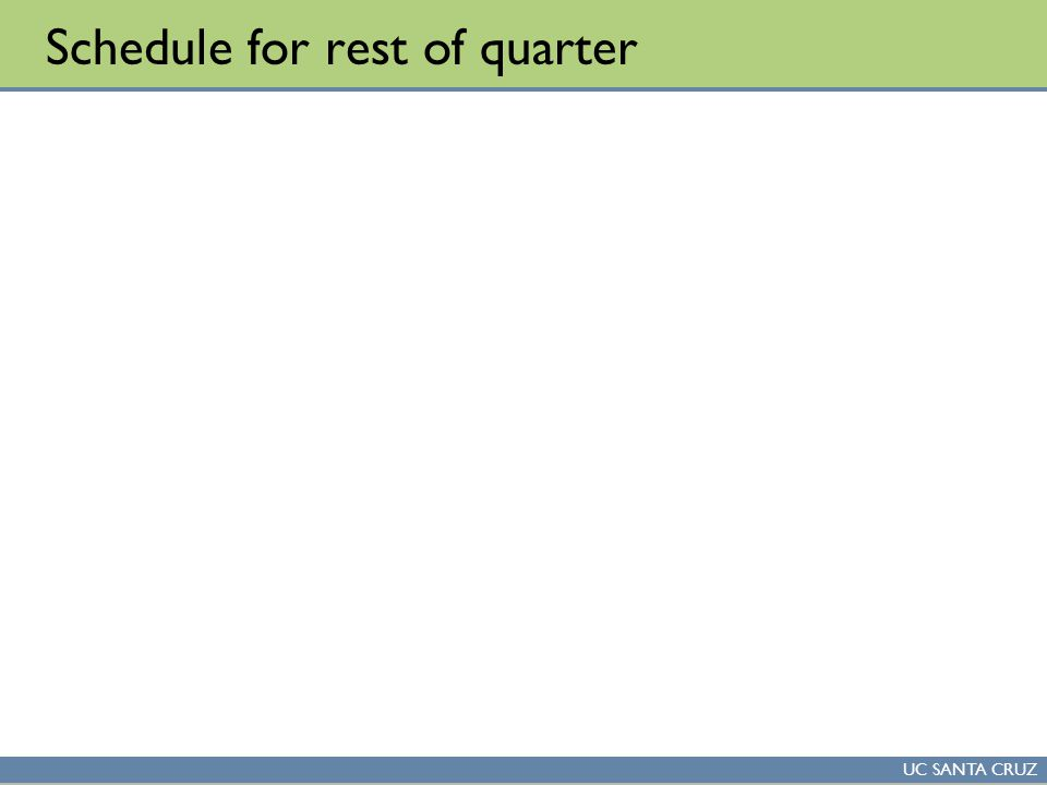 UC SANTA CRUZ Schedule for rest of quarter