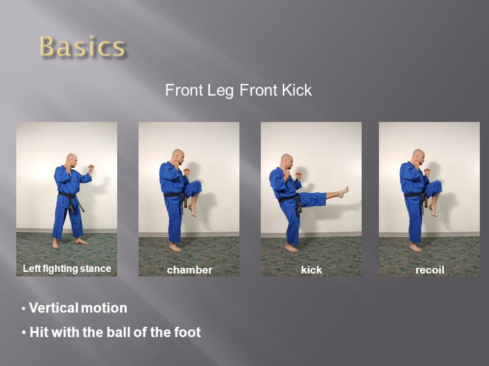 Front Leg Front Kick Left fighting stance chamberkickrecoil Vertical motion Hit with the ball of the foot