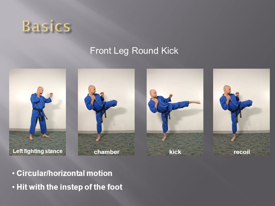 Front Leg Round Kick Left fighting stance chamberkickrecoil Circular/horizontal motion Hit with the instep of the foot