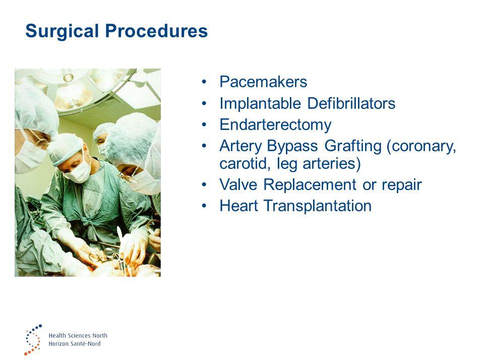 Pacemakers Implantable Defibrillators Endarterectomy Artery Bypass Grafting (coronary, carotid, leg arteries) Valve Replacement or repair Heart Transplantation