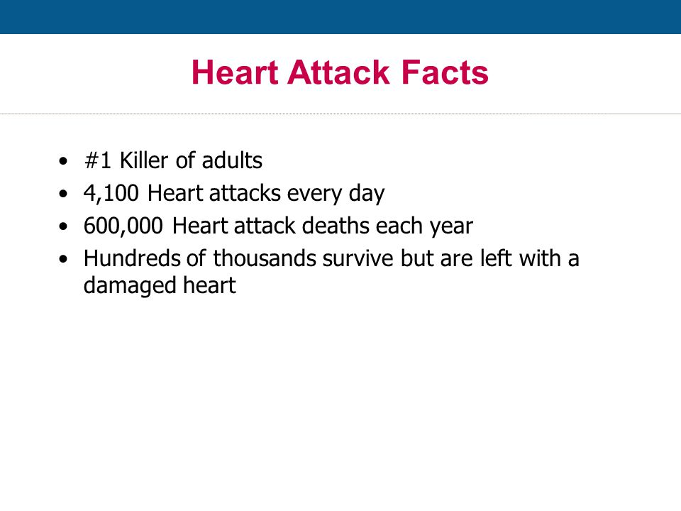 Heart Attack Facts #1 Killer of adults 4,100 Heart attacks every day 600,000 Heart attack deaths each year Hundreds of thousands survive but are left with a damaged heart