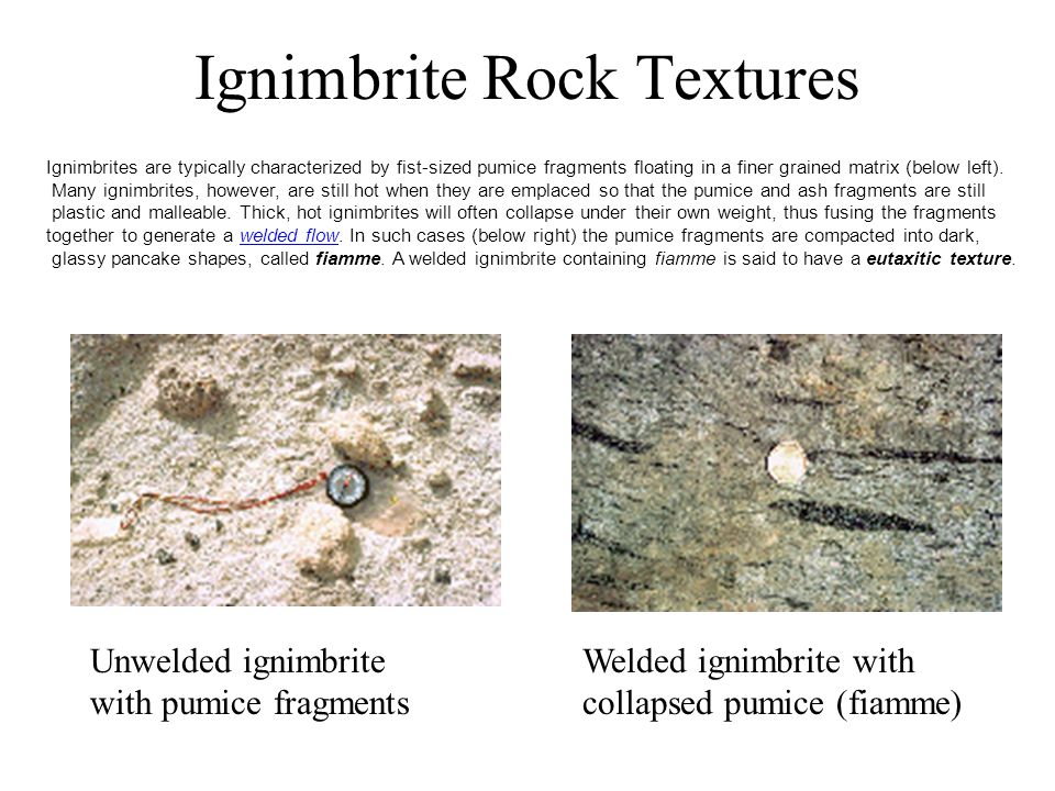 Ignimbrite Rock Textures Unwelded ignimbrite with pumice fragments Welded ignimbrite with collapsed pumice (fiamme) Ignimbrites are typically characterized by fist-sized pumice fragments floating in a finer grained matrix (below left).