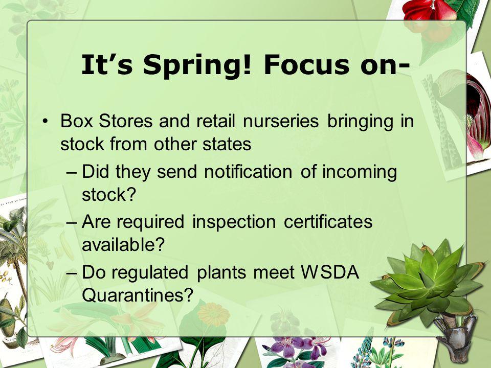 Retail Nursery Checklist 1.Check Master License for Nursery endorsement/expiration date.