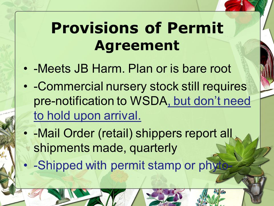 Provisions of Permit Agreement -Meets JB Harm.