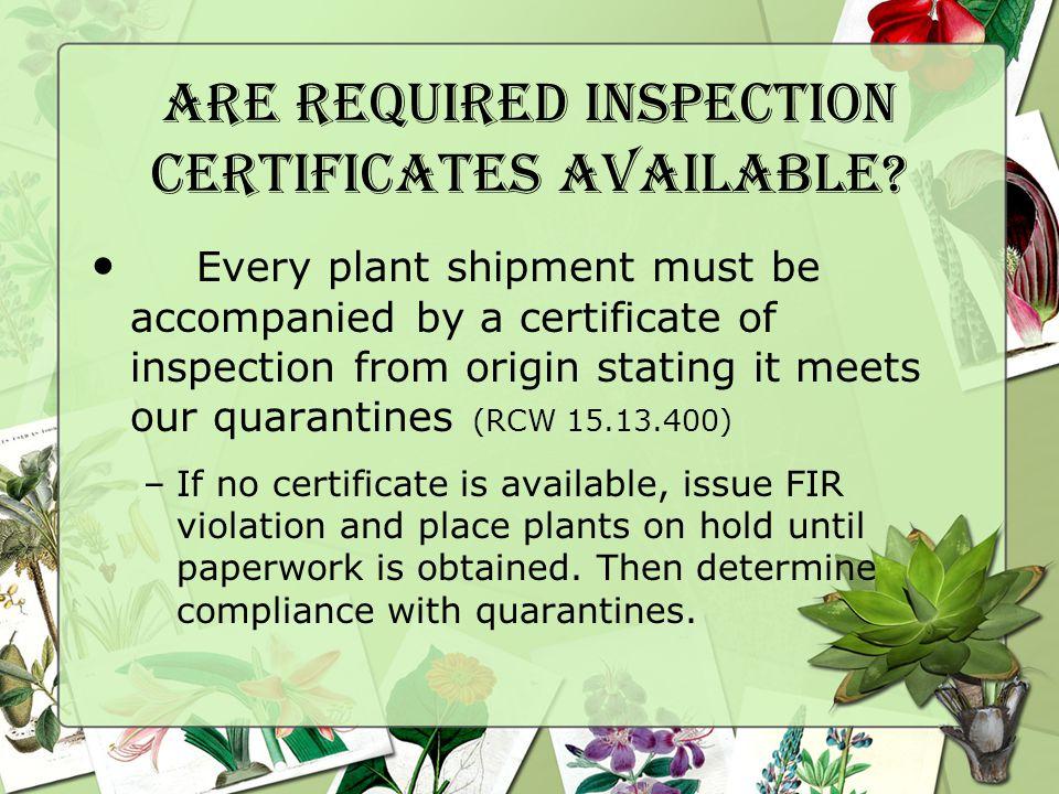 Do regulated Plants Meet WSDA Quarantines.