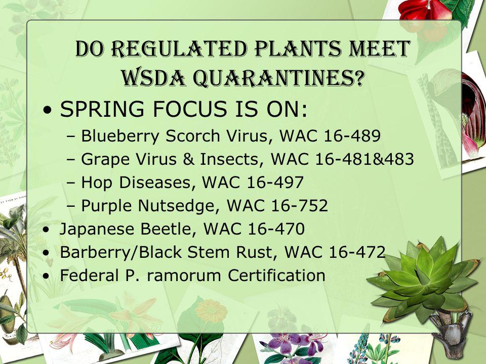 WSDA Quarantine WAC 16-489: Blueberry Scorch Virus All Vaccinium corymbosum & V.