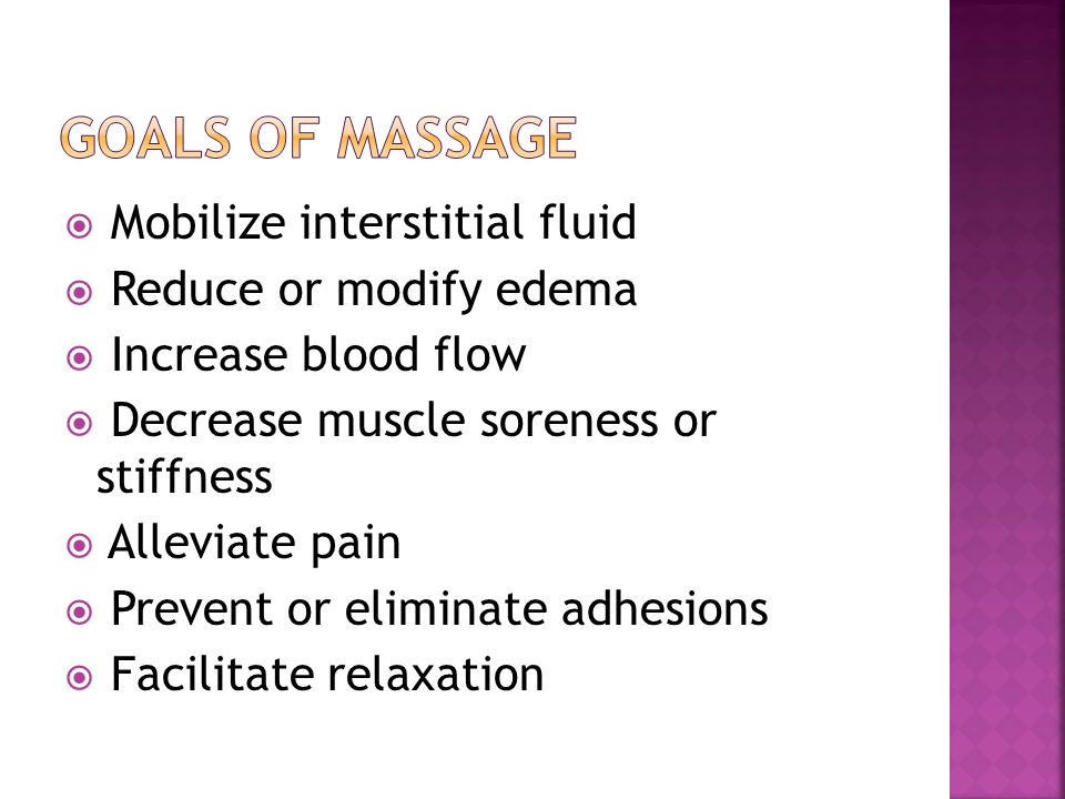  Mobilize interstitial fluid  Reduce or modify edema  Increase blood flow  Decrease muscle soreness or stiffness  Alleviate pain  Prevent or eli