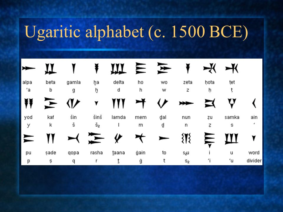 Ugaritic alphabet (c. 1500 BCE)