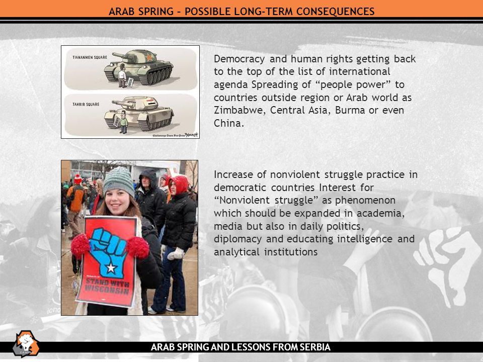 ARAB SPRING – POSSIBLE LONG-TERM CONSEQUENCES Democracy and human rights getting back to the top of the list of international agenda Spreading of people power to countries outside region or Arab world as Zimbabwe, Central Asia, Burma or even China.
