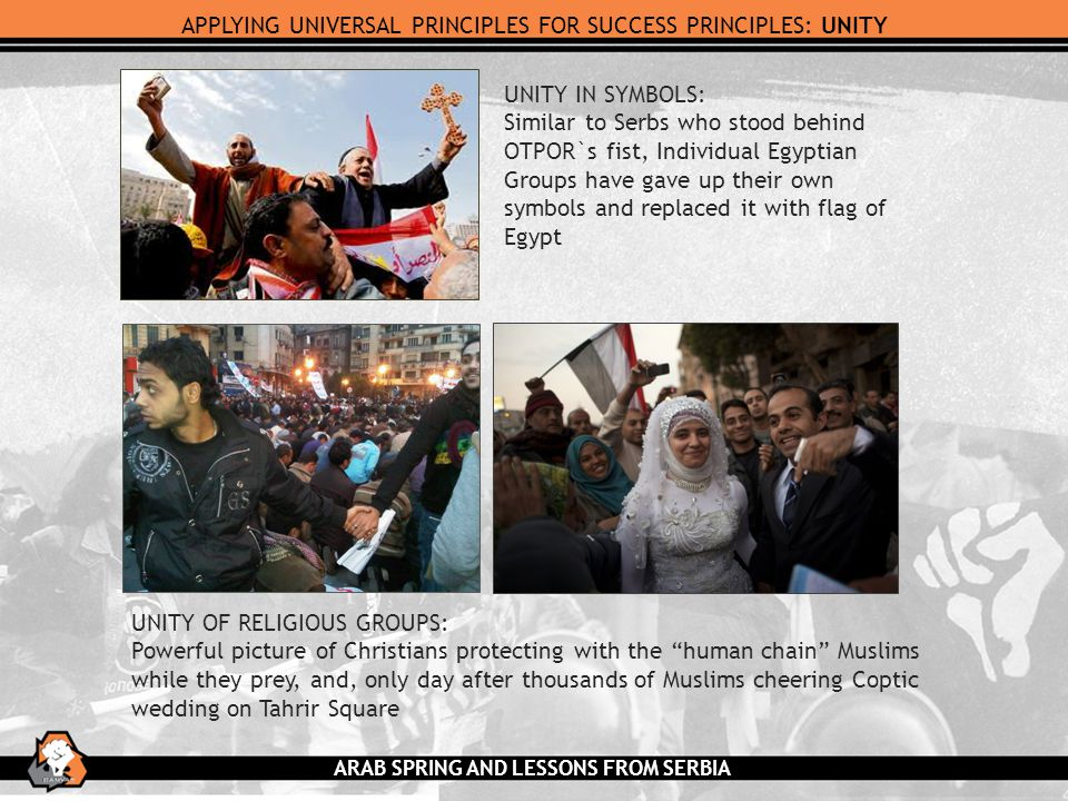 APPLYING UNIVERSAL PRINCIPLES FOR SUCCESS PRINCIPLES: UNITY UNITY IN SYMBOLS: Similar to Serbs who stood behind OTPOR`s fist, Individual Egyptian Groups have gave up their own symbols and replaced it with flag of Egypt UNITY OF RELIGIOUS GROUPS: Powerful picture of Christians protecting with the human chain Muslims while they prey, and, only day after thousands of Muslims cheering Coptic wedding on Tahrir Square ARAB SPRING AND LESSONS FROM SERBIA