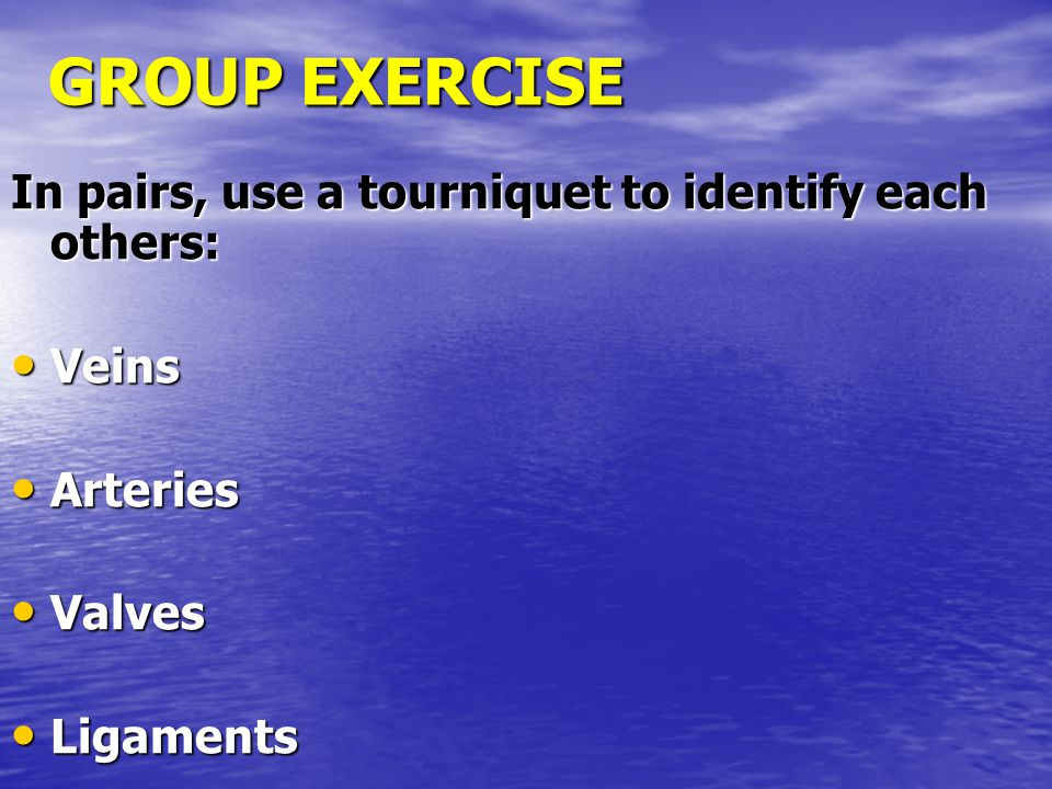GROUP EXERCISE In pairs, use a tourniquet to identify each others: Veins Veins Arteries Arteries Valves Valves Ligaments Ligaments