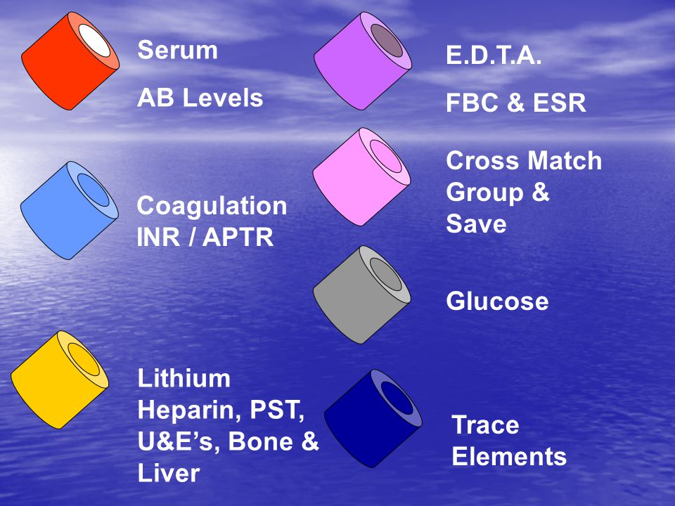 Serum AB Levels Coagulation INR / APTR Lithium Heparin, PST, U&E's, Bone & Liver E.D.T.A.
