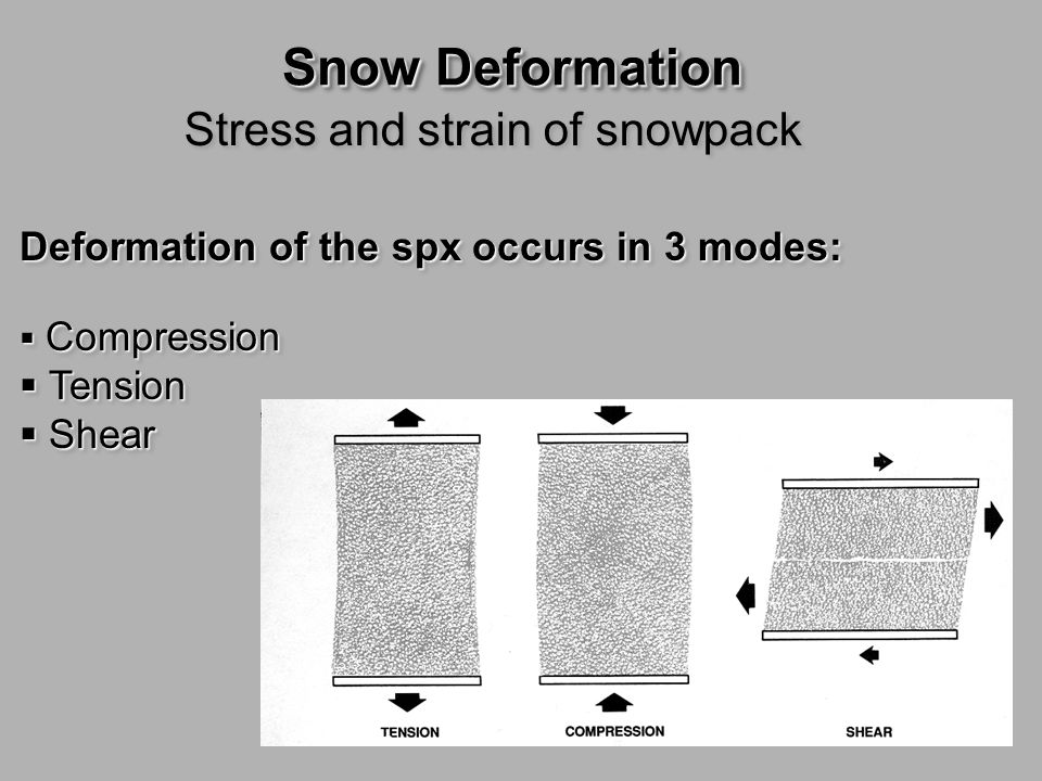 Snow Deformation Stress and strain of snowpack Glide Models assume that the water within the spx and at the snow/ground interface is the critical parameter that determines glide velocity and glide avalanche release.