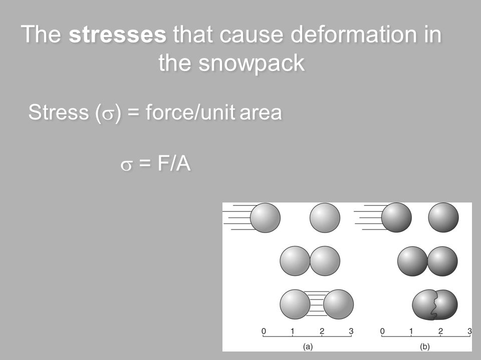 Snow Deformation Stress and strain of snowpack Glide