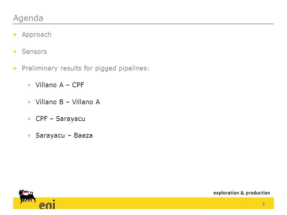Agenda Approach Sensors Preliminary results for pigged pipelines: Villano A – CPF Villano B – Villano A CPF – Sarayacu Sarayacu – Baeza 2