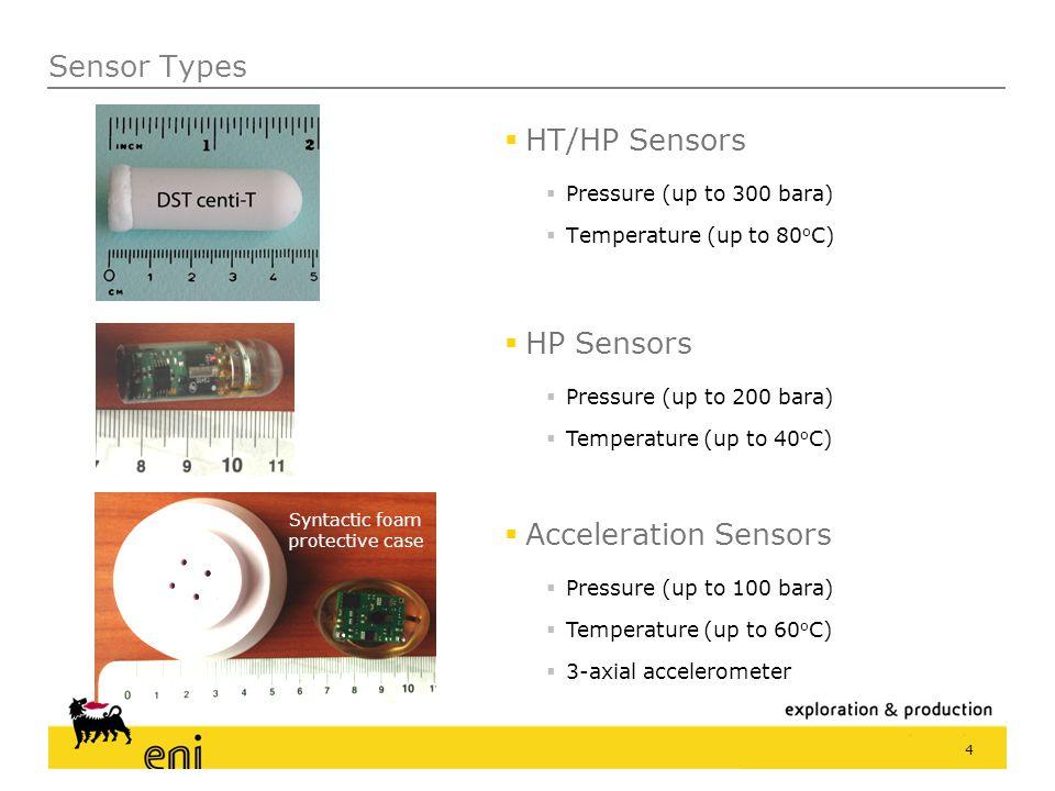 Sensor Types  HT/HP Sensors  Pressure (up to 300 bara)  Temperature (up to 80 o C) 4  HP Sensors  Pressure (up to 200 bara)  Temperature (up to