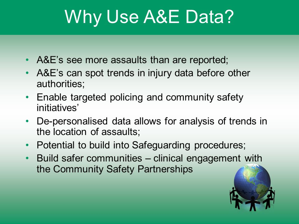 Why Use A&E Data? A&E's see more assaults than are reported; A&E's can spot trends in injury data before other authorities; Enable targeted policing a