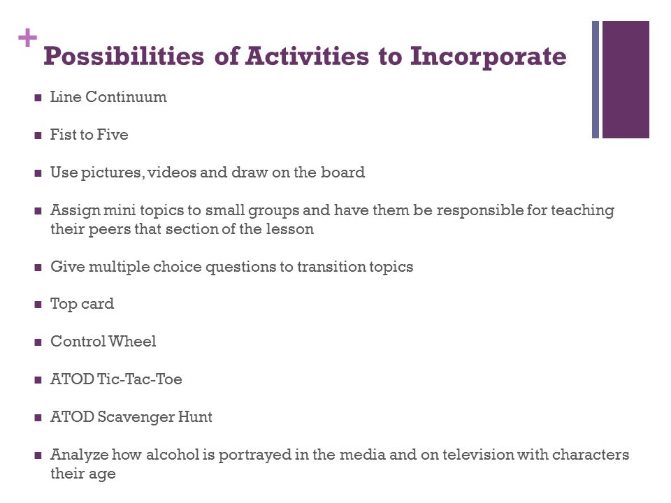 + Possibilities of Activities to Incorporate Line Continuum Fist to Five Use pictures, videos and draw on the board Assign mini topics to small groups and have them be responsible for teaching their peers that section of the lesson Give multiple choice questions to transition topics Top card Control Wheel ATOD Tic-Tac-Toe ATOD Scavenger Hunt Analyze how alcohol is portrayed in the media and on television with characters their age