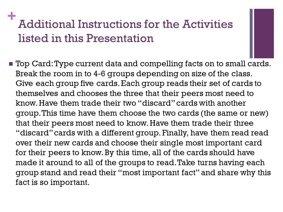 + Additional Instructions for the Activities listed in this Presentation Top Card: Type current data and compelling facts on to small cards. Break the