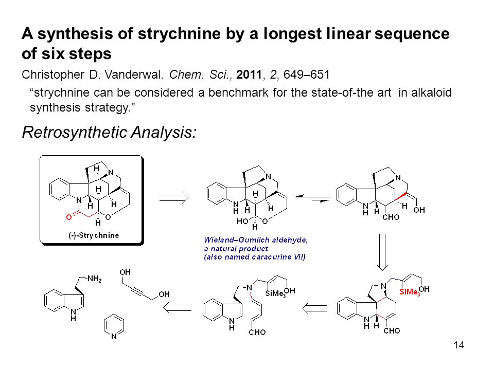 14 A synthesis of strychnine by a longest linear sequence of six steps Christopher D.