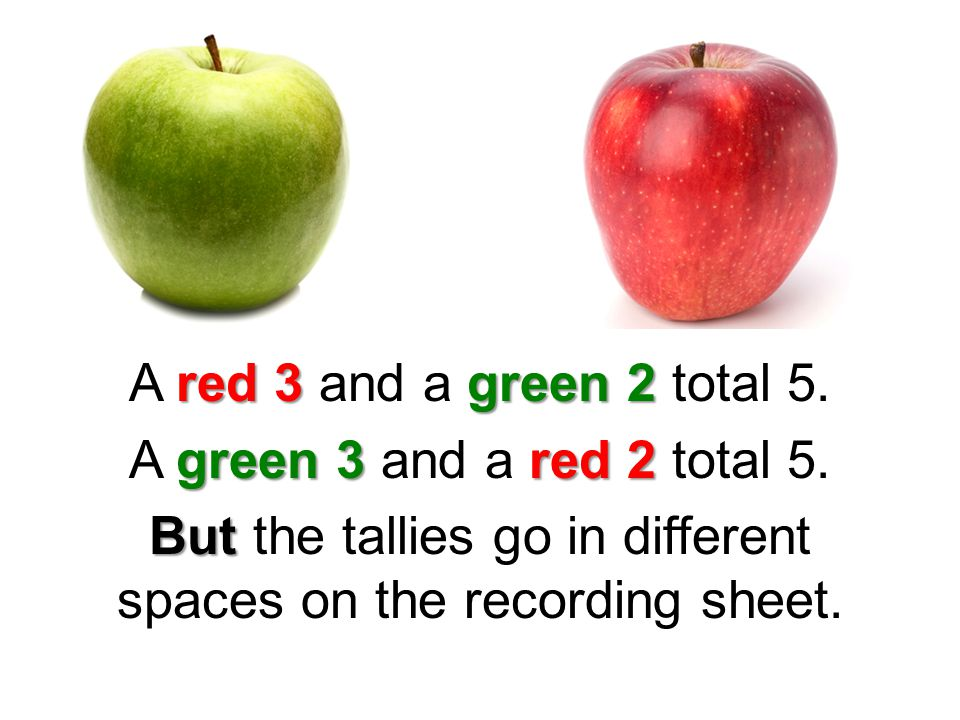 red 3 green 2 A red 3 and a green 2 total 5. green 3 red 2 A green 3 and a red 2 total 5.