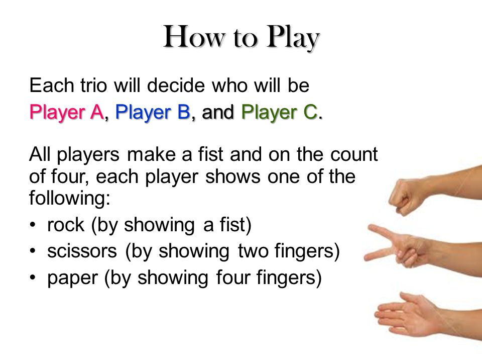 How to Play Each trio will decide who will be Player A, Player B, and Player C.