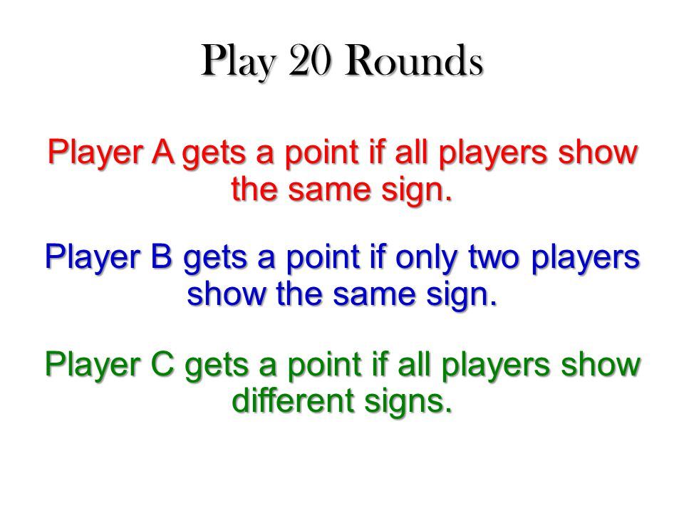 Play 20 Rounds Player A gets a point if all players show the same sign.